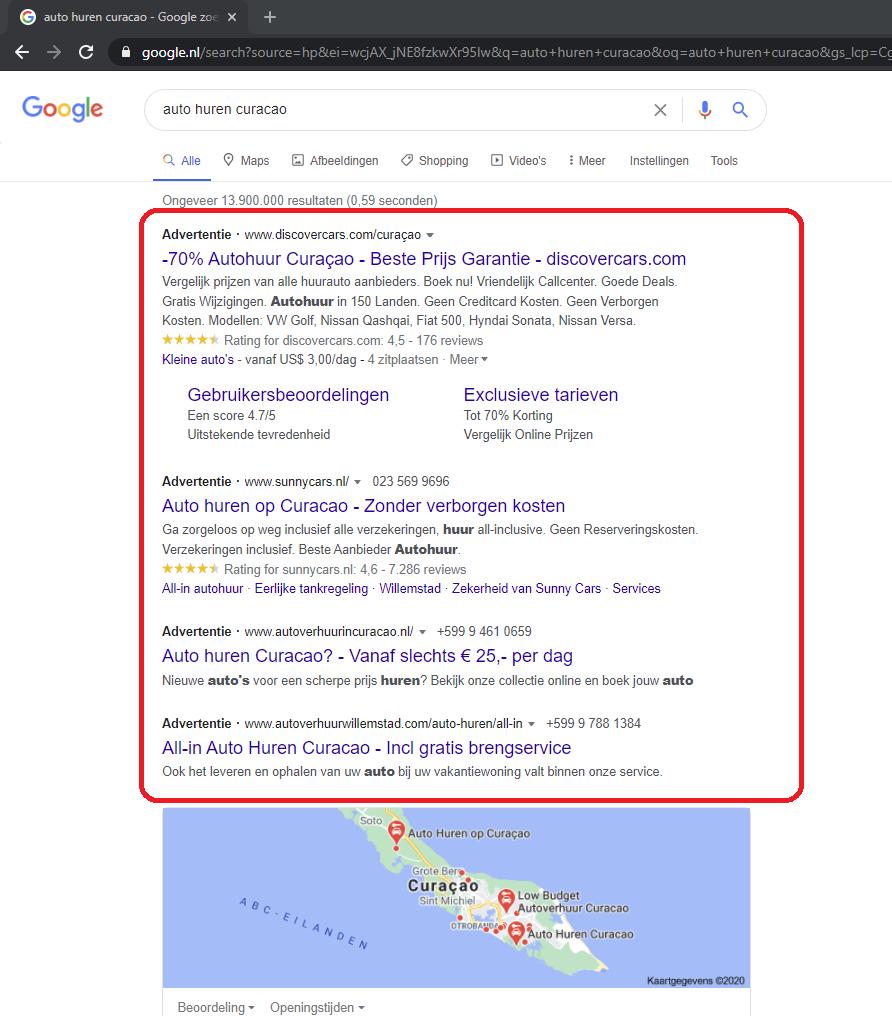 Bovenaan in Google kosten overzicht