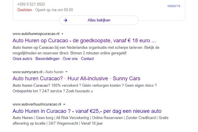 Bovenaan organische Google zoekresultaten