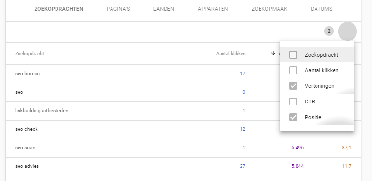 Filters in Prestaties rapport Google Search Console