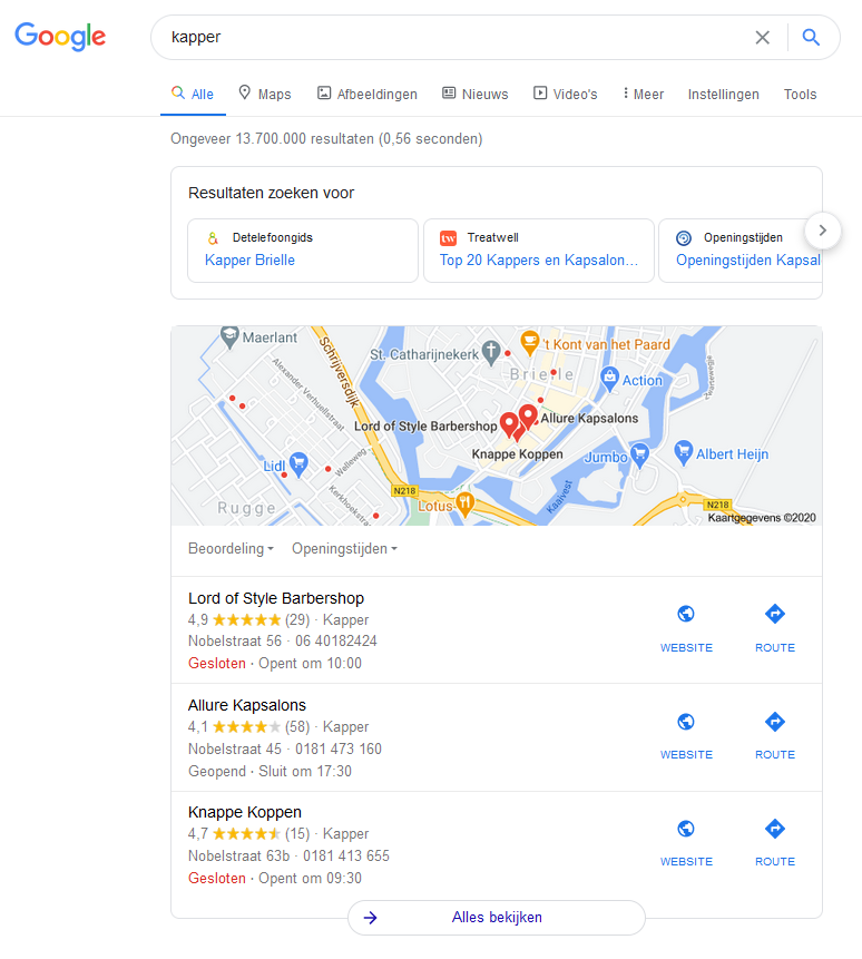 Google Maps bovenaan Google