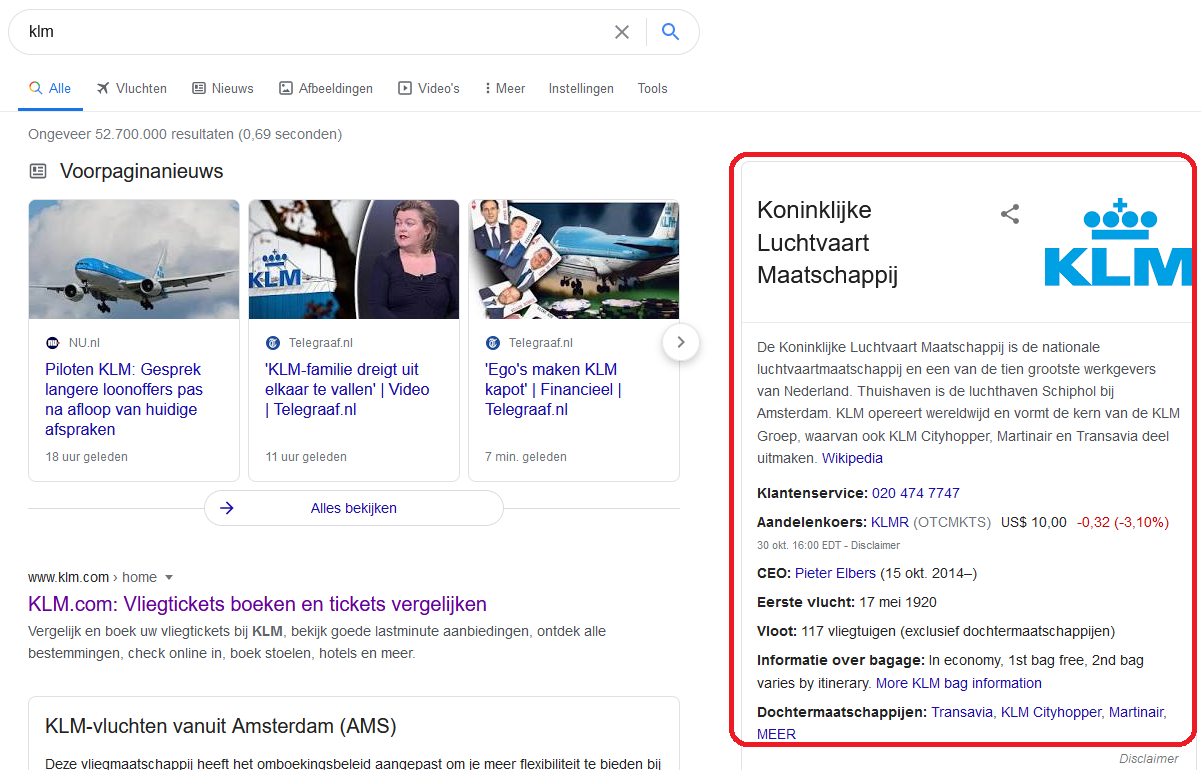 Knowledge panel in Google voor KLM