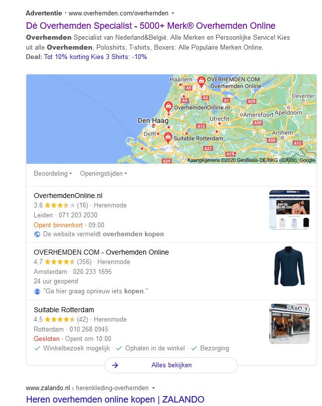 Local pack overhemden kopen in Google.nl zoekresultaat