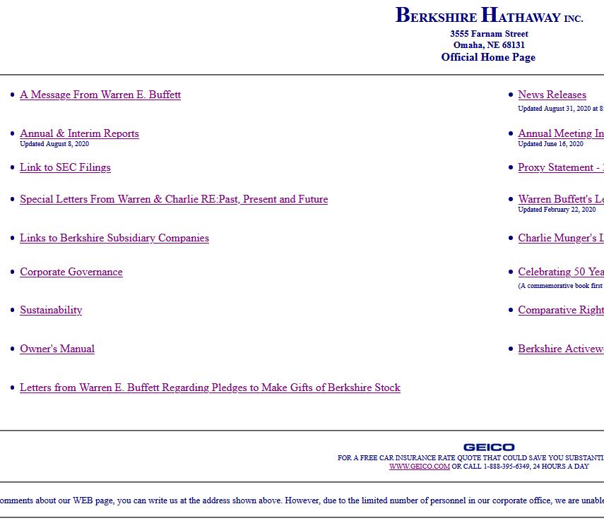 Optimale laadtijd met Berkshire Hathaway bedrijfswebsite