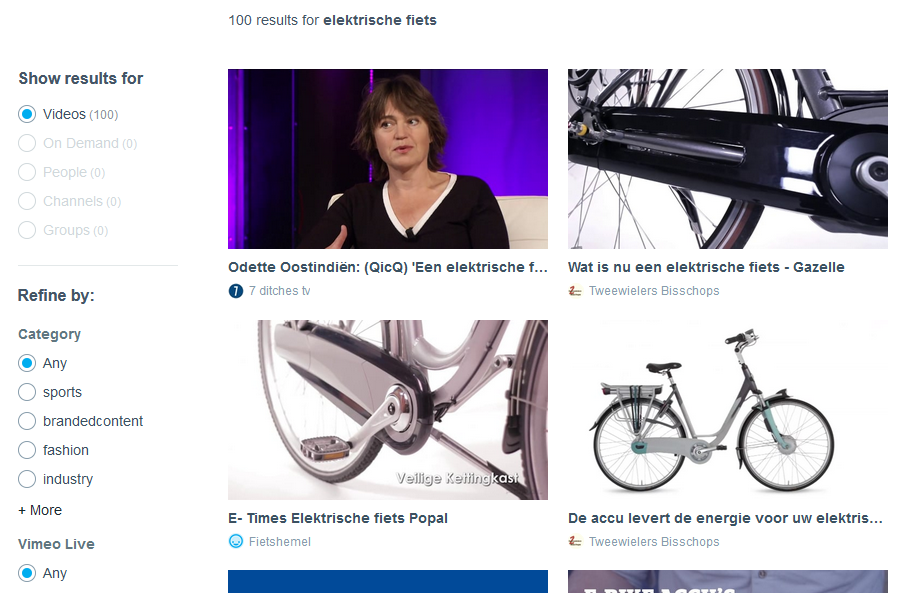 Vimeo zoekresultaat