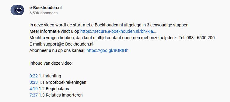 Voorbeeld YouTube beschrijving