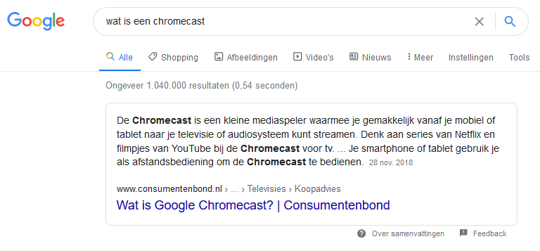 Wat is een chromecast featured snippet