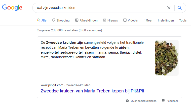 Wat zijn Zweedse Kruiden featured snippet in Google