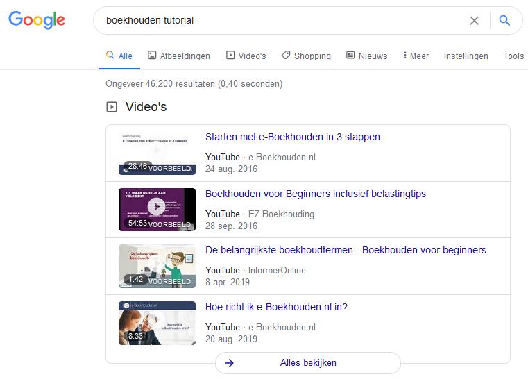 YouTube sectie in de zoekresultaten